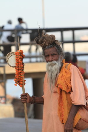Holy Sadhu in Varanasi Stock Photo - 29516049