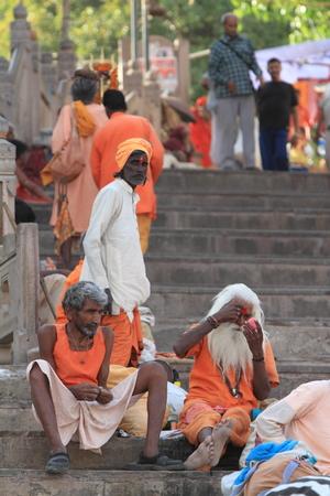 Holy Sadhu in Varanasi Stock Photo - 29516054
