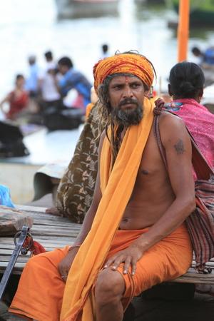 Holy Sadhu in Varanasi Stock Photo - 29516056