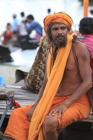 Holy Sadhu in Varanasi Stock Photo - 29555257