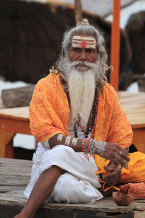Holy Sadhu in Varanasi Stock Photo - 29516315