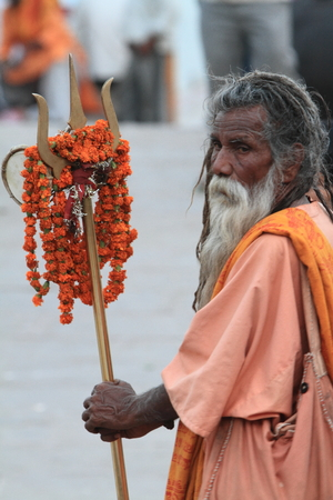 Holy Sadhu in Varanasi Stock Photo - 29516416