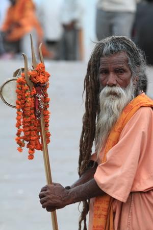 Holy Sadhu in Varanasi Stock Photo - 29516417