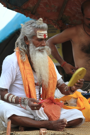Holy Sadhu in Varanasi Stock Photo - 29516580