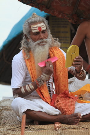 Holy Sadhu in Varanasi Stock Photo - 29516584