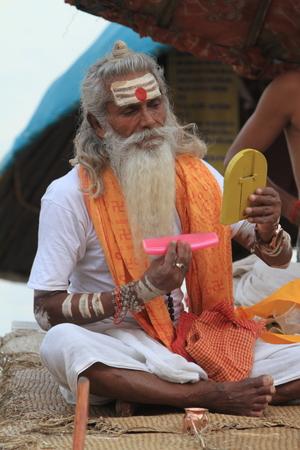 Holy Sadhu in Varanasi Stock Photo - 29516582