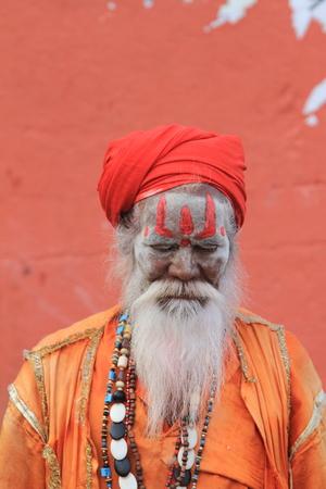 Holy Sadhu in Varanasi Stock Photo - 29516590