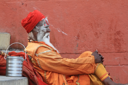 Holy Sadhu in Varanasi Stock Photo - 29516592
