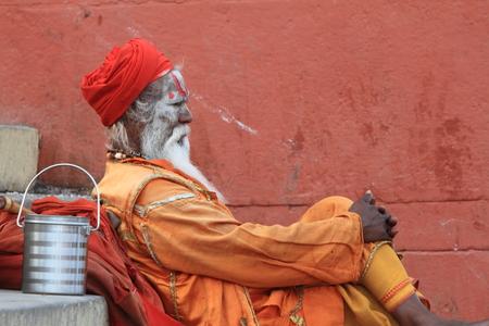 Holy Sadhu in Varanasi Stock Photo - 29516592