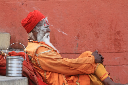 Holy Sadhu in Varanasi Stock Photo - 29516595