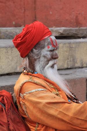 Holy Sadhu in Varanasi Stock Photo - 29516604