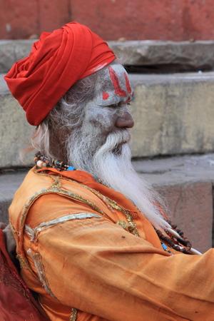 Holy Sadhu in Varanasi Stock Photo - 29516607