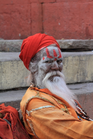 Holy Sadhu in Varanasi Stock Photo - 29516609