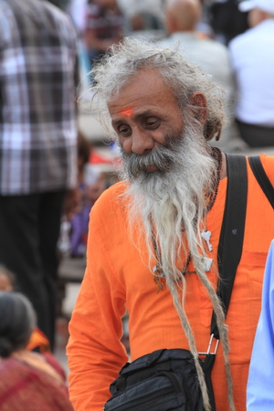 Holy Sadhu in Varanasi Stock Photo - 29516614