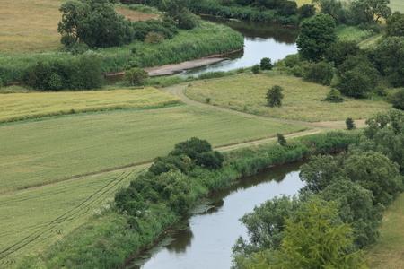 floodplain: The river landscape of the Werra Stock Photo