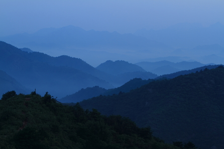 jinshanling: The Landscape of Jinshanling in China early in the Morning