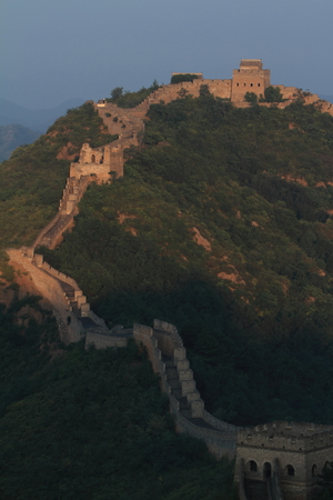 chinese wall: The Chinese Wall at Jinshanling with Sunrise early in the Morning