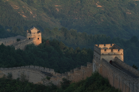 bulwark: The Chinese Wall at Jinshanling with Sunrise early in the Morning