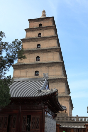 sanskrit: The Big Wild Goose Pagoda of Xian in China Editorial