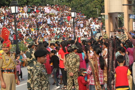 wagah: People at the Border Ceremony of Attari in India