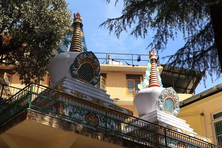 stupas: Buddhism Stupas of Dharamsala in India Stock Photo