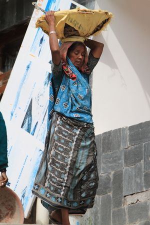 hauling: Indian Woman Workers Stock Photo