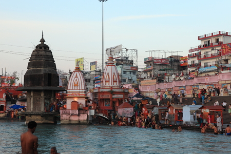 devi: People in ritual ablutions at the Ganges river in the city of Haridwar in India