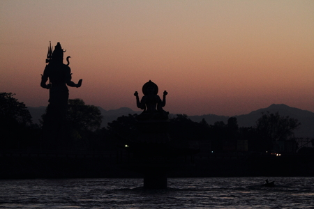 hindus: The Holy City Haridwar on the Ganges in India Stock Photo