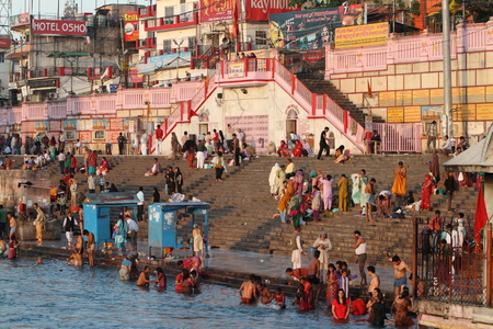 believing: The Holy City Haridwar on the Ganges in India Editorial