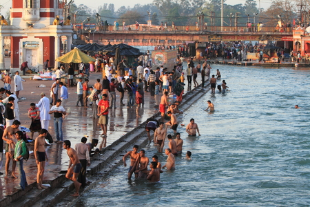 hindus: The Holy City Haridwar on the Ganges in India Editorial