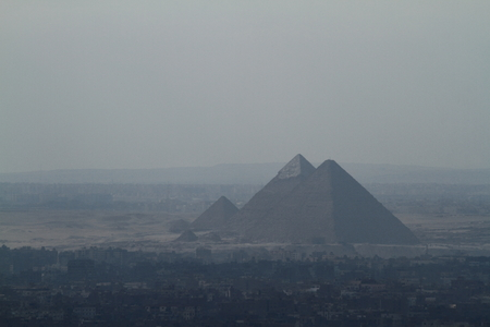 smog: The Pyramids of Giza in the smog of Cairo