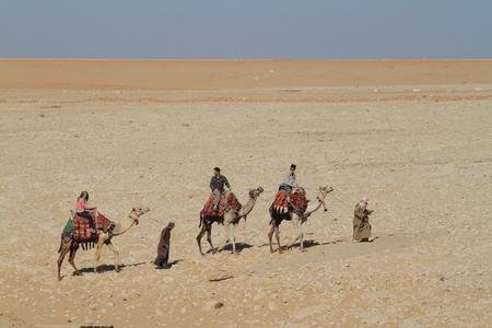 sahara: Caravan in the Sahara Stock Photo