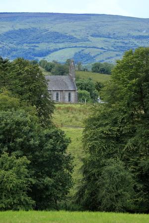 irish landscape: Irish landscape with an old church