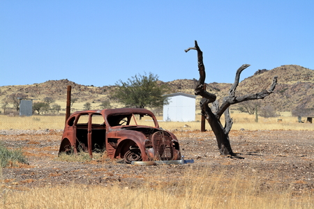 scrap car: Old car in Namibia Stock Photo