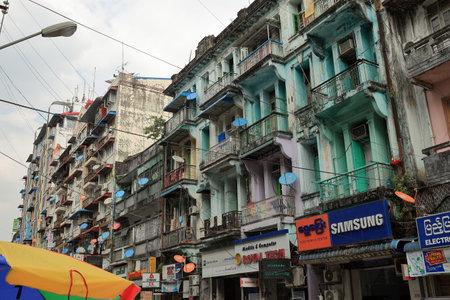 renovate old building facade: House Facade in the Streets of Rangoon in Myanmar