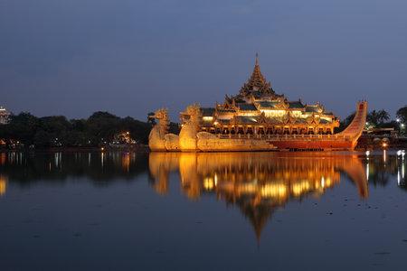 yoke: The Karaweik Palace of Rangoon in Myanmar