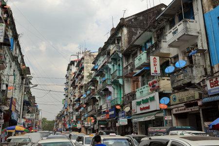 renovate old building facade: Old facades in Yangon