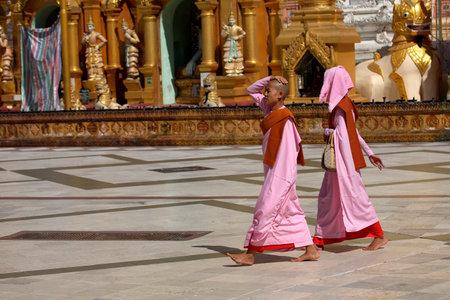nuns: Buddhist nuns in the Streets of Rangoon in Myanmar Editorial
