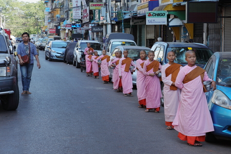nuns: Young Buddhist nuns in the Streets of Rangoon in Myanmar