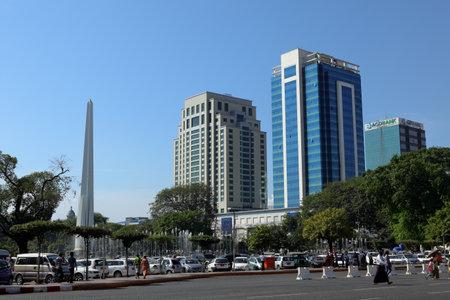 obelisk: The Obelisk of Yangon in Myanmar