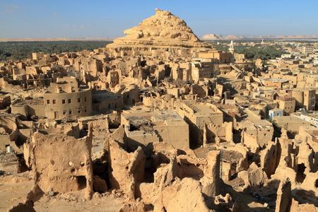 mountain oasis: The old oasis town of Siwa in the Sahara of Egypt Stock Photo