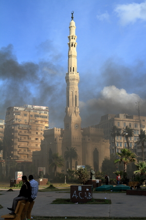 alexandria: Demonstrations and burning cars in Alexandria Egypt Editorial
