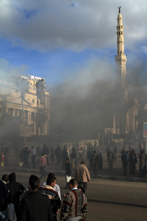 alexandria egypt: Demonstrations and burning cars in Alexandria Egypt Editorial