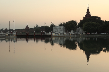 Royal Palace: Royal Palace of Mandalay at night Editorial
