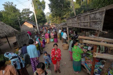 saleswomen: Local market of Bagan in Myanmar