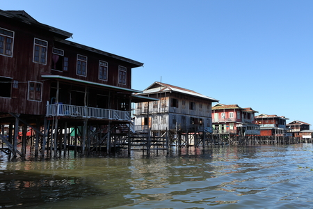 inle: Fishing villages at Inle Lake in Myanmar