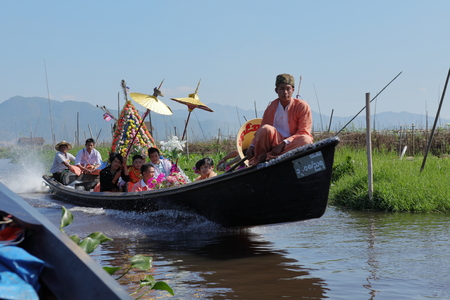 inle: Religious Festival on Inle Lake in Myanmar Editorial