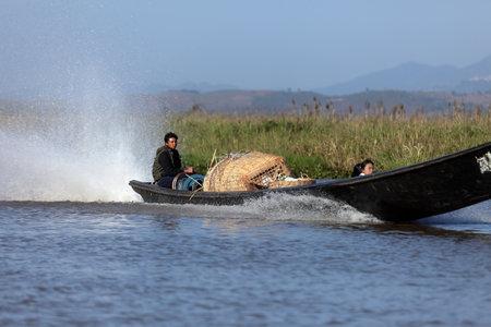 motorboat: Tourist Motorboat at Lake Inle in Myanmar Editorial