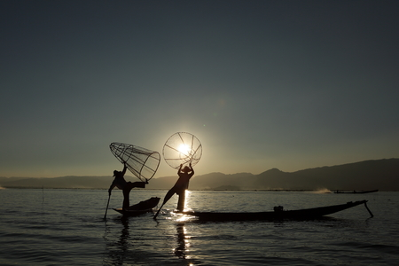 fisher animal: The leg rowers from Inle Lake in Myanmar