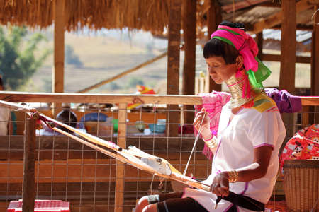 Traditional Padaung woman from Myanmar Standard-Bild